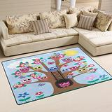 WOZO Funny Owl Butterfly Tree Area Rug Rugs Non-Slip Floor Mat Doormats for Living Room Bedroom 60 x 39 inches