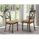 East West Furniture BOC-CAP-C Boston wooden dining chairs - Microfiber Seat and Cappuccino Finish Hardwood patio dining chair Set of 2