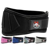 """Iron Body Team Weight Lifting Belts for Men and Women - 6 Inch Weight Lifting Core & Lower Back Support Workout Waist Belt for Weightlifting, Fitness, Powerlifitng(Black, 37""""- 42"""" Around Navel, Large)"""