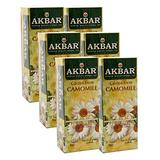 Akbar , Pure Chamomile Flowers , Caffiene Free Tea , 25 Ct String & Tag Teabags , Herbal Infusion Tea , Total 150 Teabags , Pack of 6