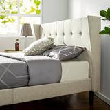 Zinus Athena Upholstered Button Tufted Wingback Platform Bed / Mattress Foundation / Easy Assembly / Strong Wood Slat Support, Queen
