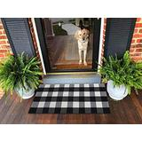 Ukeler Plaid Rugs Black and White Rug Cotton Hand-Woven Buffalo Check Rug for Front Porch Washable Kitchen Rugs and Mat, 23.6''x51.2''