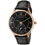Movado Men's Swiss Quartz Gold-Tone and Leather Watch, Color:Black (Model: 0660009)
