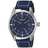 Alpina Men's Startimer Stainless Steel Swiss-Quartz Watch with Nylon Strap, Blue, 21 (Model: AL-240N4S6)