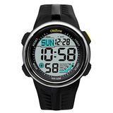 Digital Watch Men Sports Water Resistant 60 Lap 3 Alarm Stainless Steel Ring Stopwatch Dual Time Black Resin Watch Black 442 (Black)