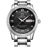CARNIVAL Mens Dial Automatic Full Gold Stainless Steel Sapphire Glass Waterproof Men Black Watch (Silver/Black Dial)