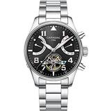CARNIVAL Mens Automatic Silver Stainless Steel Sapphire Waterproof Luminous Men's Black Dial Watch