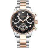 CARNIVAL Mens Automatic Rose Gold Stainless Steel Sapphire Waterproof Luminous Men's Black Dial Watch