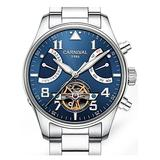 CARNIVAL Mens Automatic Silver Stainless Steel Sapphire Waterproof Luminous Men's Blue Dial Watch
