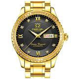 CARNIVAL Mens Dial Automatic Full Gold Stainless Steel Sapphire Glass Waterproof Men Black Watch (Gold/Black Dial)