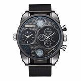 Oulm Brand HT9316W Mens Watches Mesh Steel Wristwatch Double Time Zone Japan Quartz Movement Watch Male Clock Luxury Timepiece