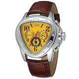 Sweetbless Wristwatches Men Triangle Yellow Dial Date/Week/24Hours Auto Mechanical Watch