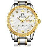 CARNIVAL Mens Dial Automatic Full Gold Stainless Steel Sapphire Glass Waterproof Men Black Watch (Gold/Silver/White Dial)