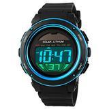 Solar Energy Men Electronic Sports Watches Outdoor Military LED Watch Digital Quartz Wristwatches (Blue)
