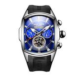 Reef Tiger Mens Big Sport Watches Blue Dial Tourbillon Automatic Watches Waterproof Rubber Strap Watch RGA3069