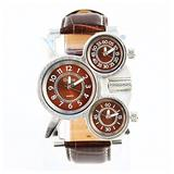 Men's Unique Three Time Display Analog Watch Fashion Military Army Sport Quartz Wrist Watch with Three Dial, Comfortable Leather Band Design,Steel Case,Three Time Zone - Brown