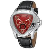 Sweetbless Wristwatches Men Red Dial Triangle Date/Week/24Hours Auto Mechanical Watch