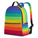 YZGO Striped Rainbow Children School Backpacks for Boys Girls Youth Canvas Bookbags Travel Laptop Bags