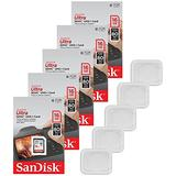 5x Genuine SanDisk Ultra 16GB Class 10 SDHC Flash Memory Card Up To 80MB/s Memory Card (SDSDUNC-016G-GN6IN) W/ Memory Card Case (5pcs)