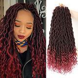Lihui Faux Locks Crochet Hair Braids Goddess Locs Crochet Hair For Black Women Curly Goddess Faux Locks Crochet Hair Pre Looped Soft Crochet Faux Locks Hair Extensions(14inch, 1B/Bug, 6packs)