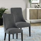 Uttermost 23240 Set of (2) Sophisticated Patamon Armless Dining Chairs Charcoal Gray