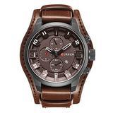 Men Retro Wide Cuff Calendar Watch,Decorative Sub-Dial Chronograph Leather Strap Wrist Watch,Brown
