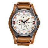 Men Retro Wide Cuff Calendar Watch,Decorative Sub-Dial Chronograph Leather Strap Wrist Watch,Brown White