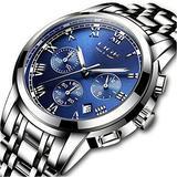 Watches Mens Fashion Casual Full Steel Quartz Analog Quartz Watch Man Luxury Brand LIGE Chronograph Waterproof Date Business Wristwatch Blue
