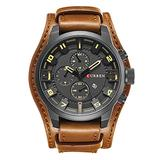 Men Retro Wide Cuff Calendar Watch,Decorative Sub-Dial Chronograph Leather Strap Wrist Watch,Brown Black