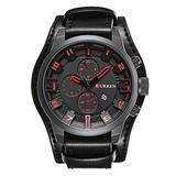 Men Retro Wide Cuff Calendar Watch,Decorative Sub-Dial Chronograph Leather Strap Wrist Watch,Black