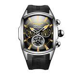 Reef Tiger Luminous Sport Watch for Men Tourbillon Analog Automatic Watches Rubber Strap RGA3069 (RGA3069-YBBG)