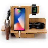JackCubeDesign Wood Docking Station Nightstand Organizer Key Holder Wallet Stand Watch Gift Anniversary for Men Dad Father Birthday Graduation Gadgets Compatible with iPhone iWatch AirPods - MK242A