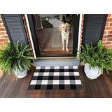 Ukeler Buffalo Plaid Rugs 2×3- Cotton Retro Farmhouse Doormat Tartan Checkered Layered Door Mats Outdoor Hand-Woven Washable Throw Rugs for Front Porch/Kitchen/Sink/Bathroom/Entry Way