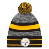 Men's New Era Black Pittsburgh Steelers Team Logo Cuffed Knit Hat with Pom