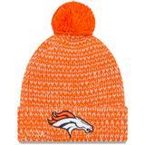 Women's New Era Orange Denver Broncos Frosty Cuff Pom Knit Hat