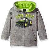 John Deere Baby Boys' Fleece Zip Poly Hoody, Grey, 2T