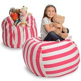 """Stuffed Animal Storage Bean Bag Chair - Extra Large Stuff 'n Sit by Creative QT - Organization for Kids Toy Storage - Available in a Variety of Sizes and Colors (38"""", Pink Stripe)"""