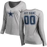 Women's Fanatics Branded Heather Gray Dallas Cowboys Personalized Icon Name & Number Long Sleeve T-Shirt