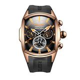 Reef Tiger Sport Watches for Men Rose Gold Tone Tourbillon Automatic Watch Rubber Strap RGA3069 (RGA3069-PBBO)