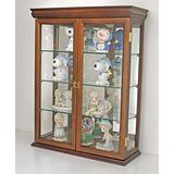"""Small 26"""" Solid Wood Tuscan Style Small Wall Curio Cabinet, Stand or Wall Mount, 19.75"""" W X 26"""" H X 7"""" D (Walnut)"""