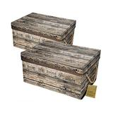 Livememory Decorative Storage Boxes with Lid, Fabric Storage Bins with Lids and Handles for Office, Bedroom, Closet, Toys. L15.7 x W11.8 x H7.9 Inches (Not Made of Wood, 2 Pack)