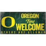 """Oregon Ducks 6"""" x 12"""" Fans Welcome Sign"""