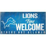 """""""Detroit Lions 6"""""""" x 12"""""""" Fans Welcome Sign"""""""