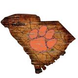 """""""Clemson Tigers 23.5"""""""" x Distressed State with Logo Sign"""""""