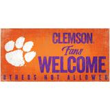 """""""Clemson Tigers 6"""""""" x 12"""""""" Fans Welcome Sign"""""""