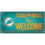 """""""Miami Dolphins 6"""""""" x 12"""""""" Fans Welcome Sign"""""""