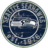 """Seattle Seahawks 23.5"""" Distressed Round Sign"""