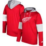 Men's adidas Red Detroit Wings Silver Jersey Pullover Hoodie
