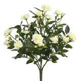 "Vickerman 461624 - 15"" White Mini Diamond Rosa Bush x 5 (FL171102) Home Office Flower Bushes"