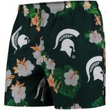 """Men's Green Michigan State Spartans Floral Swim Trunks"""
